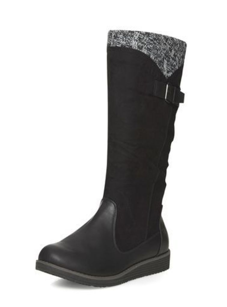 Black Wedge Knitted Boots, Black