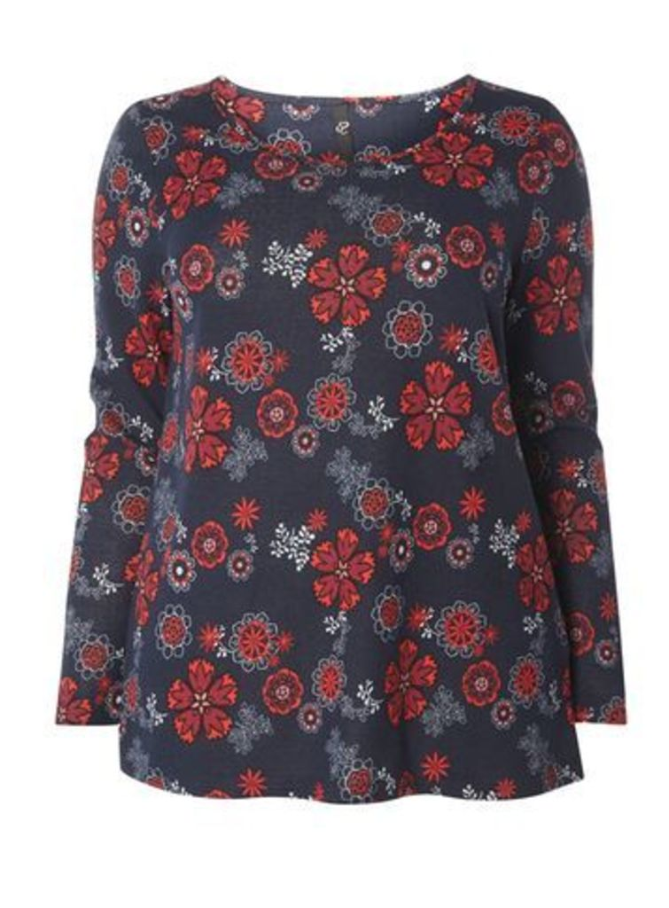 Navy Blue Soft Touch Printed Top, Navy