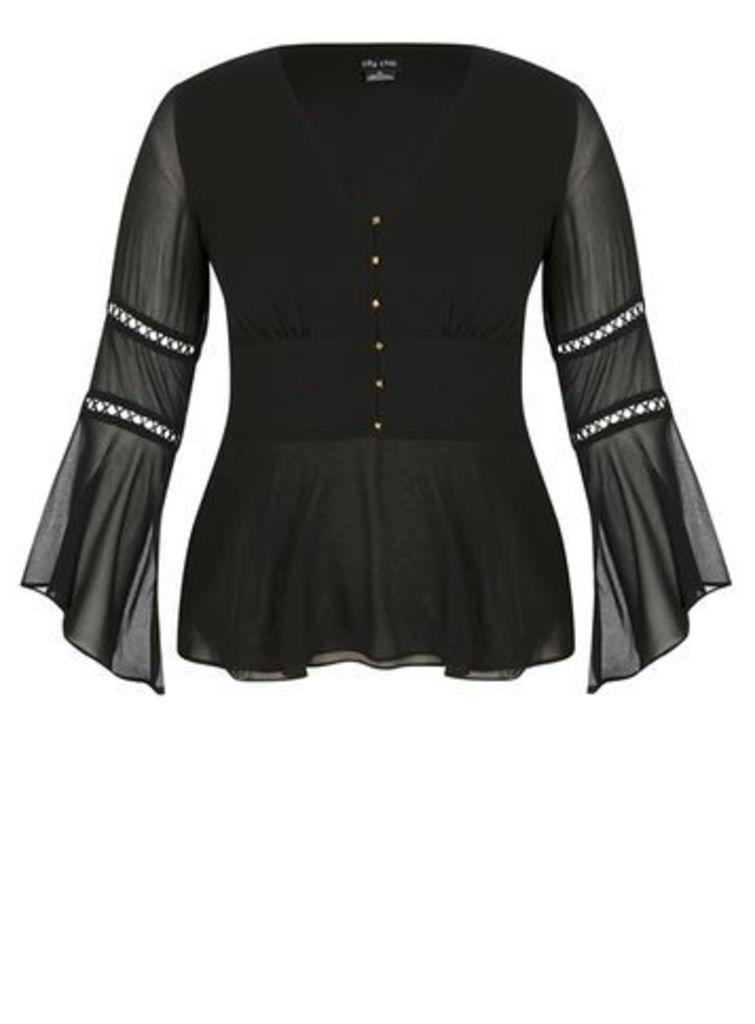 City Chic Black Sheer Sleeve Top, Black