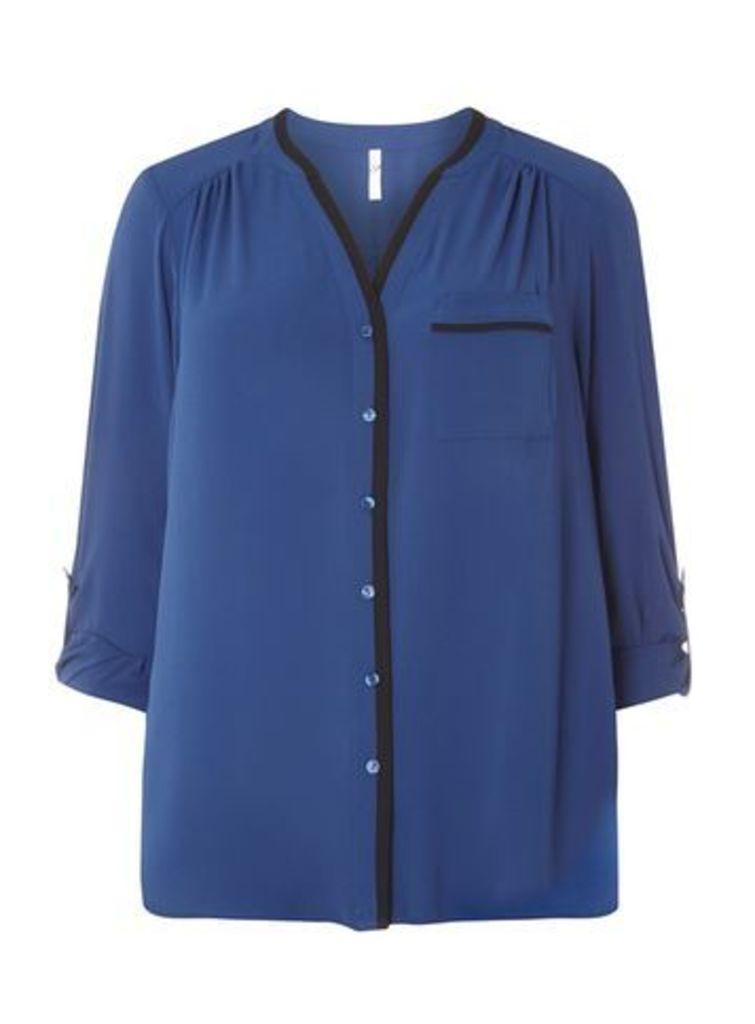 Blue 3/4 Sleeve Trim Shirt, Blue