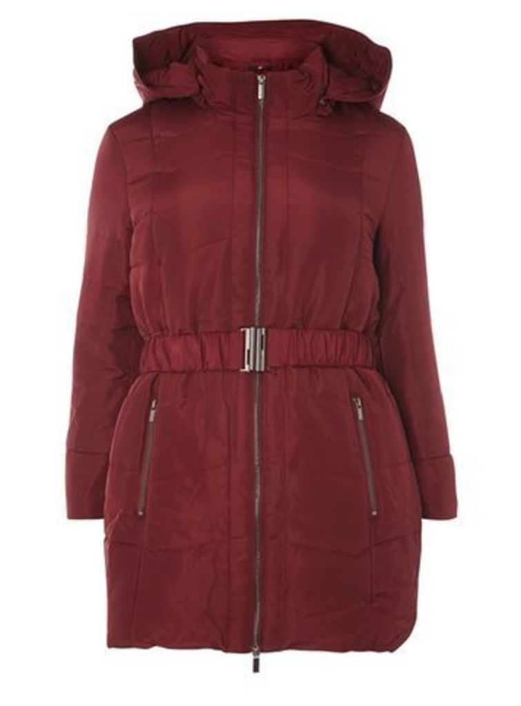 Wine Red Belted Padded Coat, Red