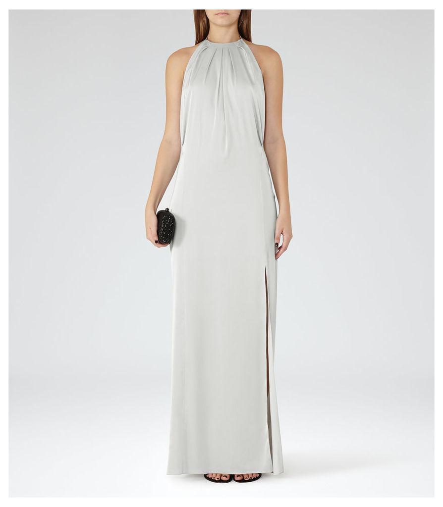 REISS Elouise  - Womens Satin Maxi Dress in Grey