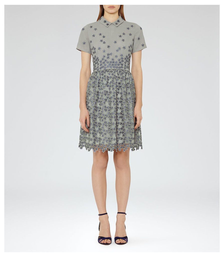 REISS Emerson  - Womens Pique Floral Dress in Grey