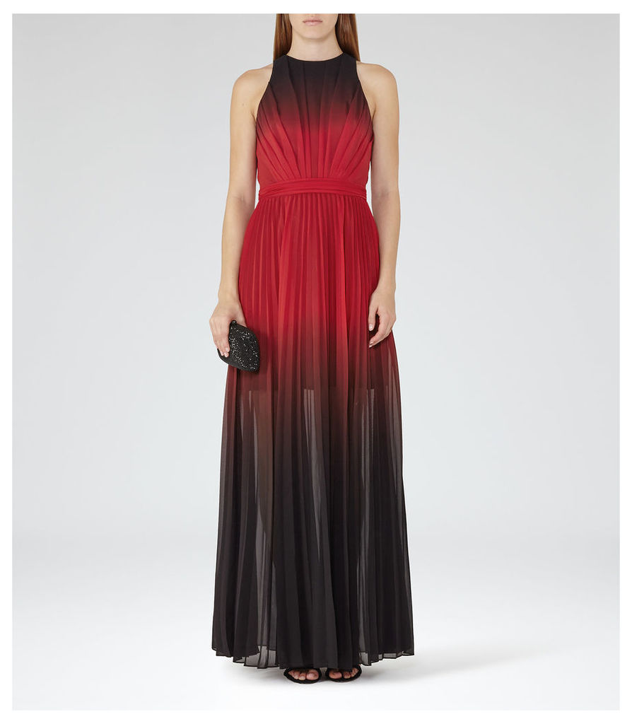 REISS Hawk - Womens Ombre Pleated Maxi Dress in Red