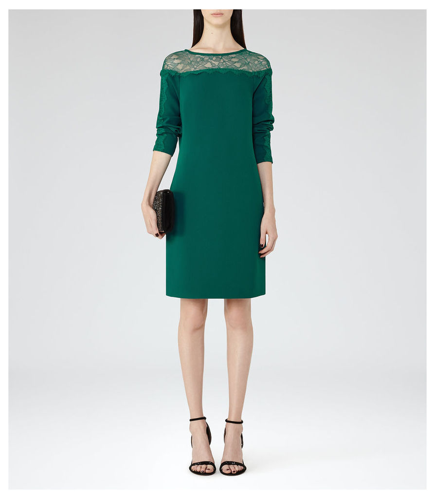 REISS Claudia - Womens Lace-detail Shift Dress in Green