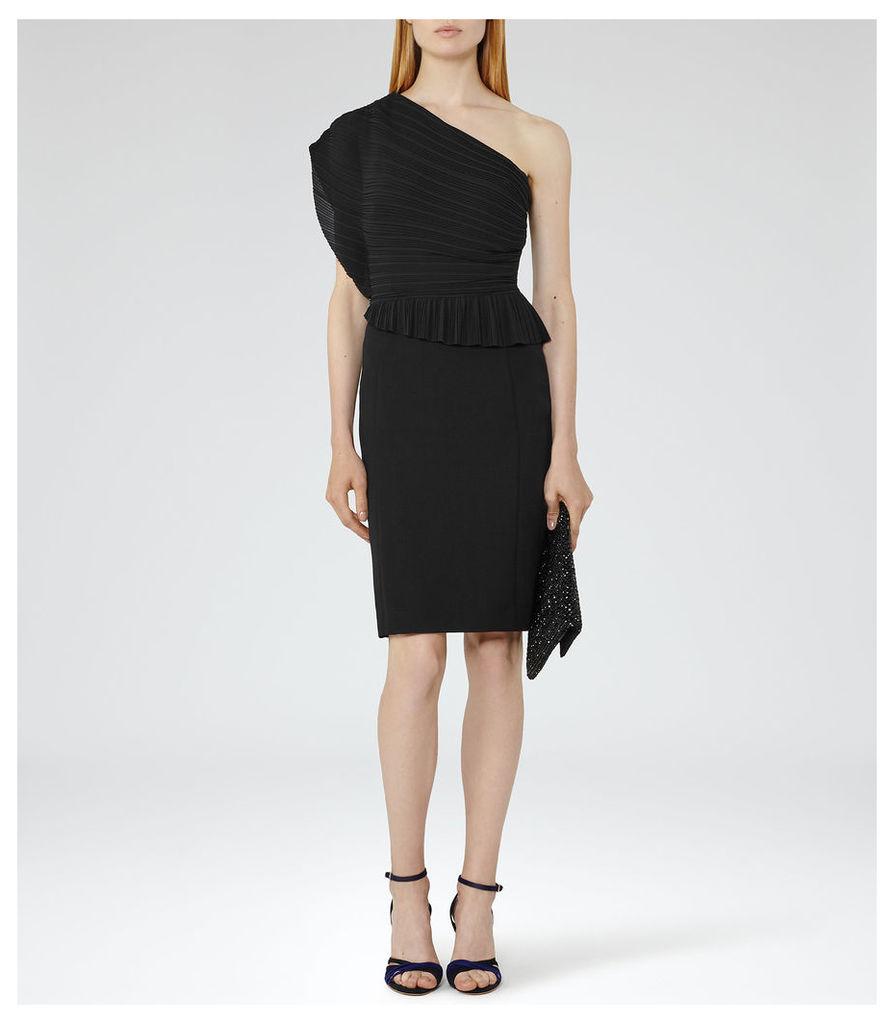 REISS Jesse - Womens Plisse-detail Dress in Black