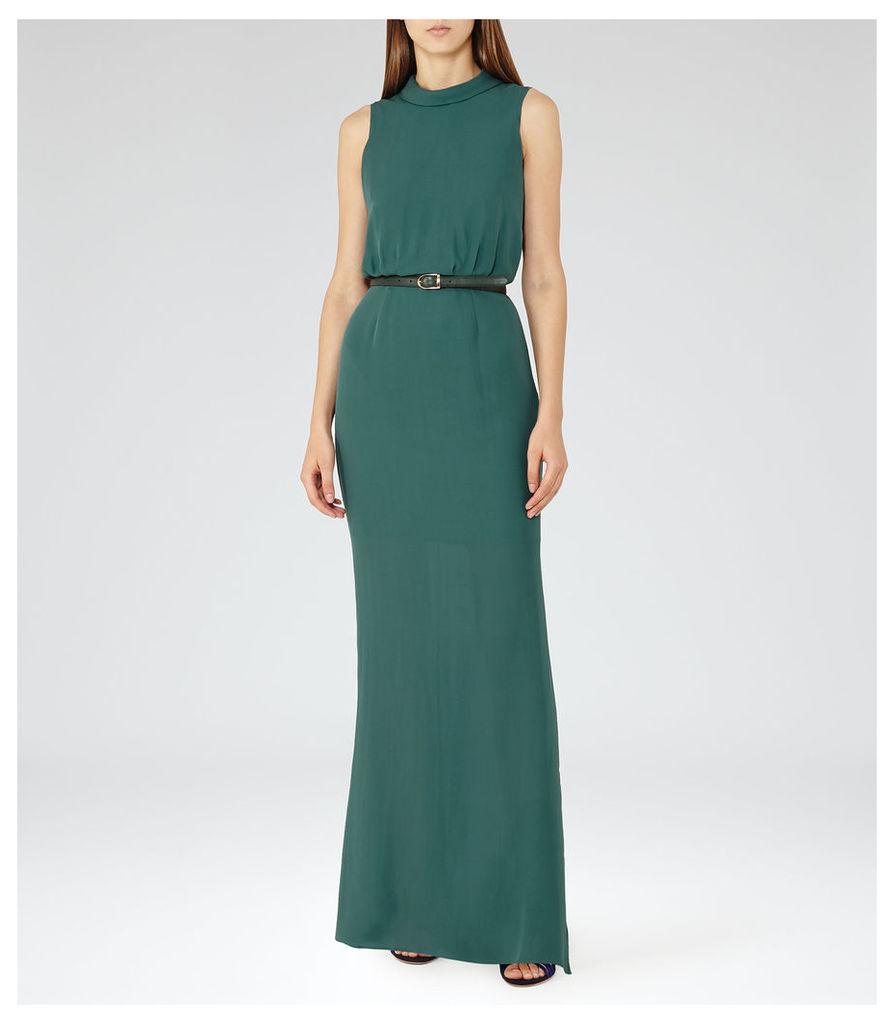 REISS Ora - Womens High-neck Maxi Dress in Green