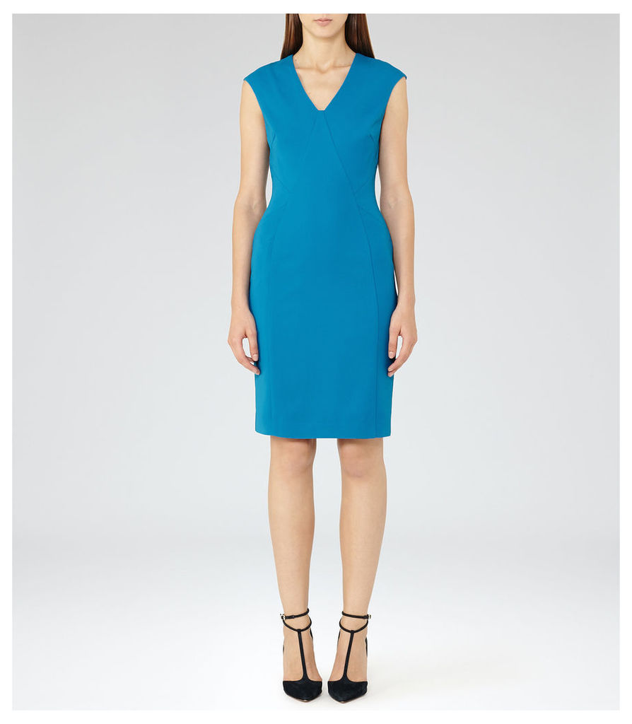 REISS Jamie - Womens Fitted Tailored Dress in Blue