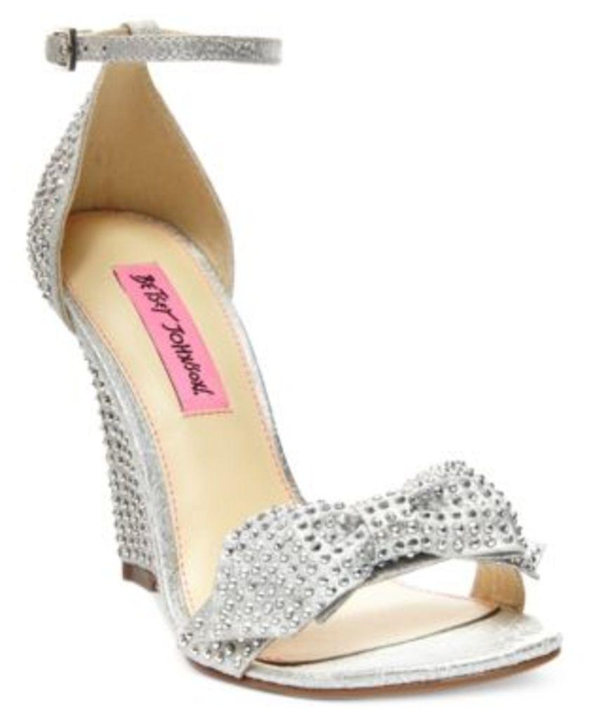 Betsey Johnson Delancyy Wedge Evening Sandals Women's Shoes