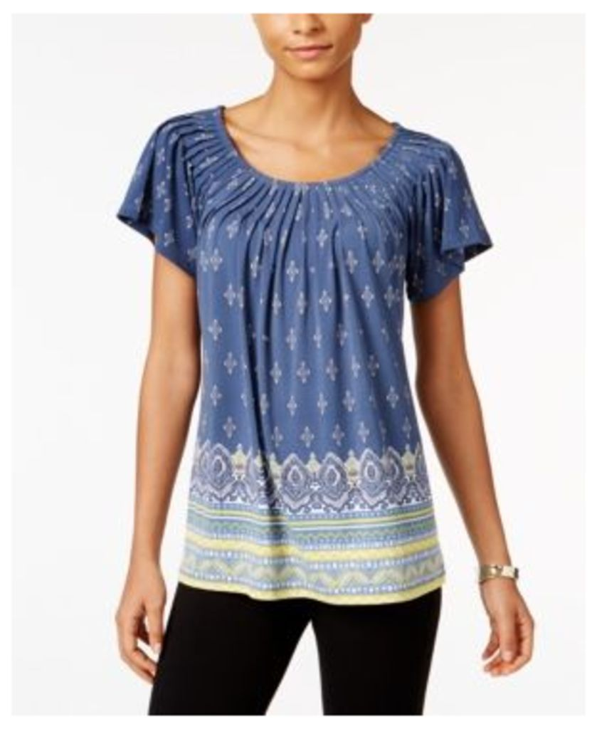 Style & Co Printed Pleat-Neck Top, Only at Macy's
