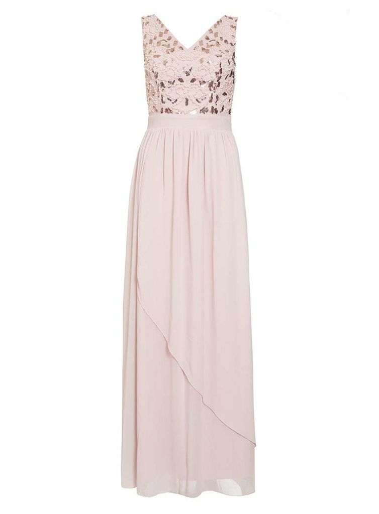 Womens *Quiz Pink Waterfall V-Neck Maxi Dress- Pink
