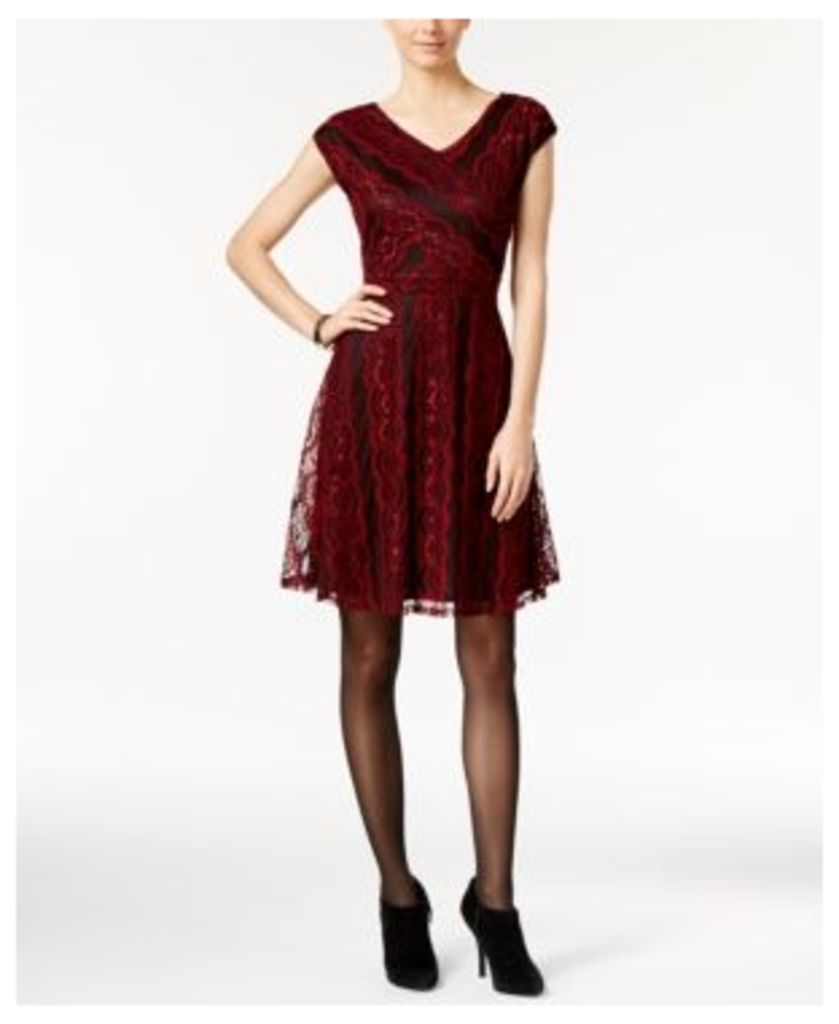 Ny Collection Petite Metallic Lace Fit-&-Flare Dress