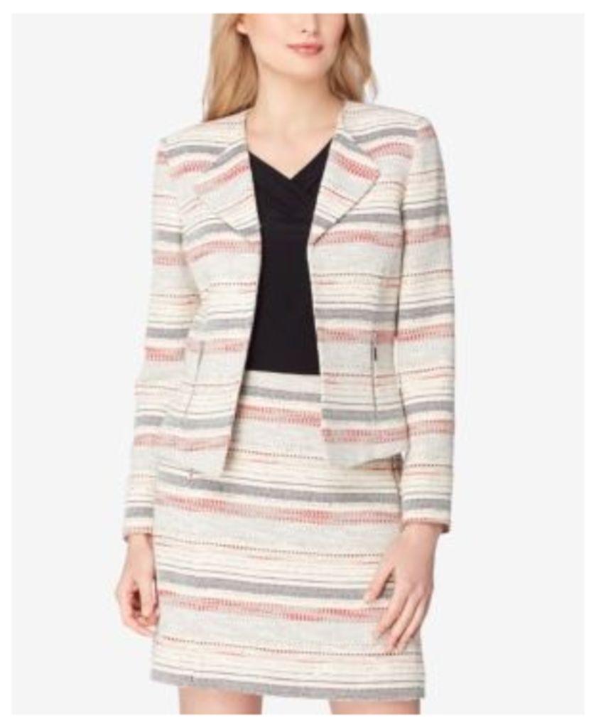 Tahari Asl Wing-Collar Tweed Blazer