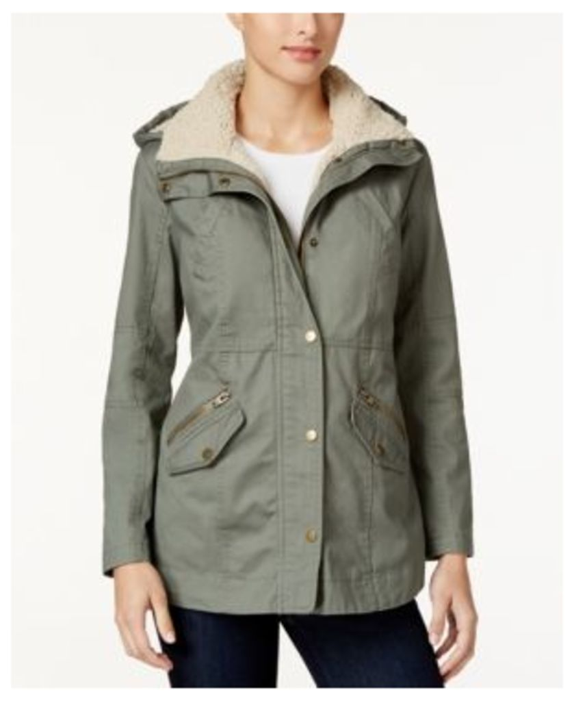 Style & Co. Sherpa-Collar Anorak Jacket, Only at Macy's