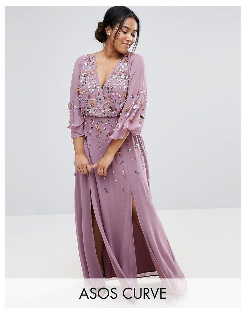 ASOS CURVE Embellished Kimono Sleeve Maxi Dress - Purple