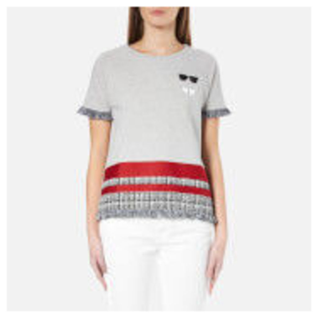Karl Lagerfeld Women's Stripe Boucle Sweatshirt - Grey - M