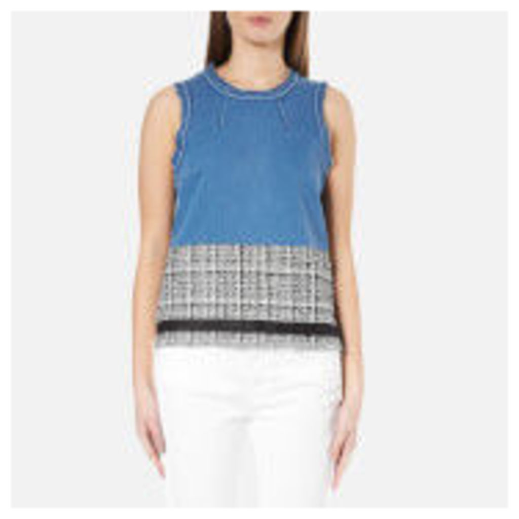 Karl Lagerfeld Women's Denim and Boucle Top - Blue - IT 44/UK 12