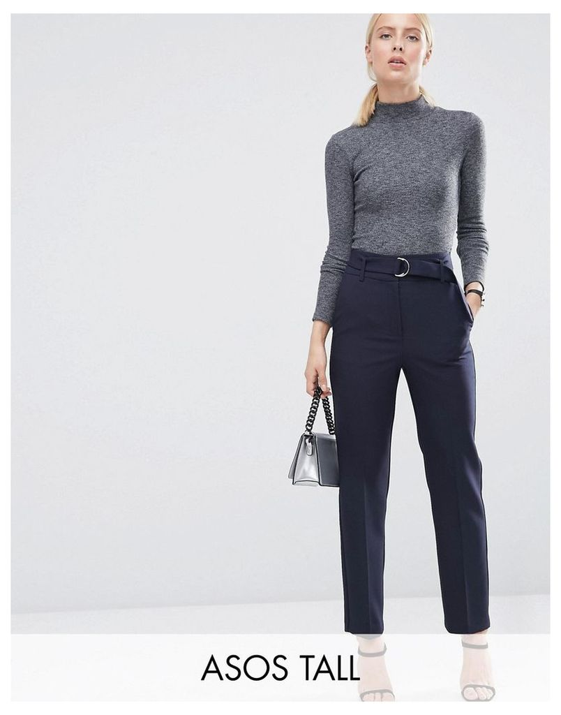 ASOS TALL High Waist Trousers With Paperbag Waist - Navy