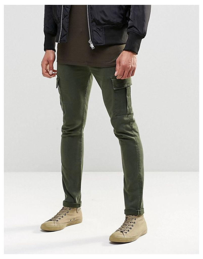 ASOS Super Skinny Jeans With Cargo Pockets In Khaki - Khaki