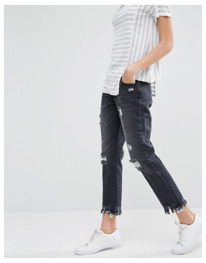 Daisy Street Distressed Boyfriend Jeans With Raw Hems - Black