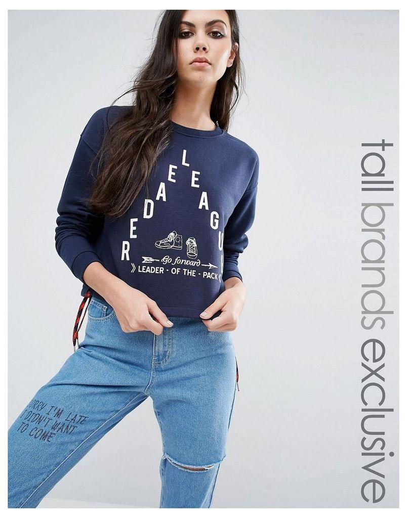 Noisy May Tall Motif Cropped Sweater - Navy