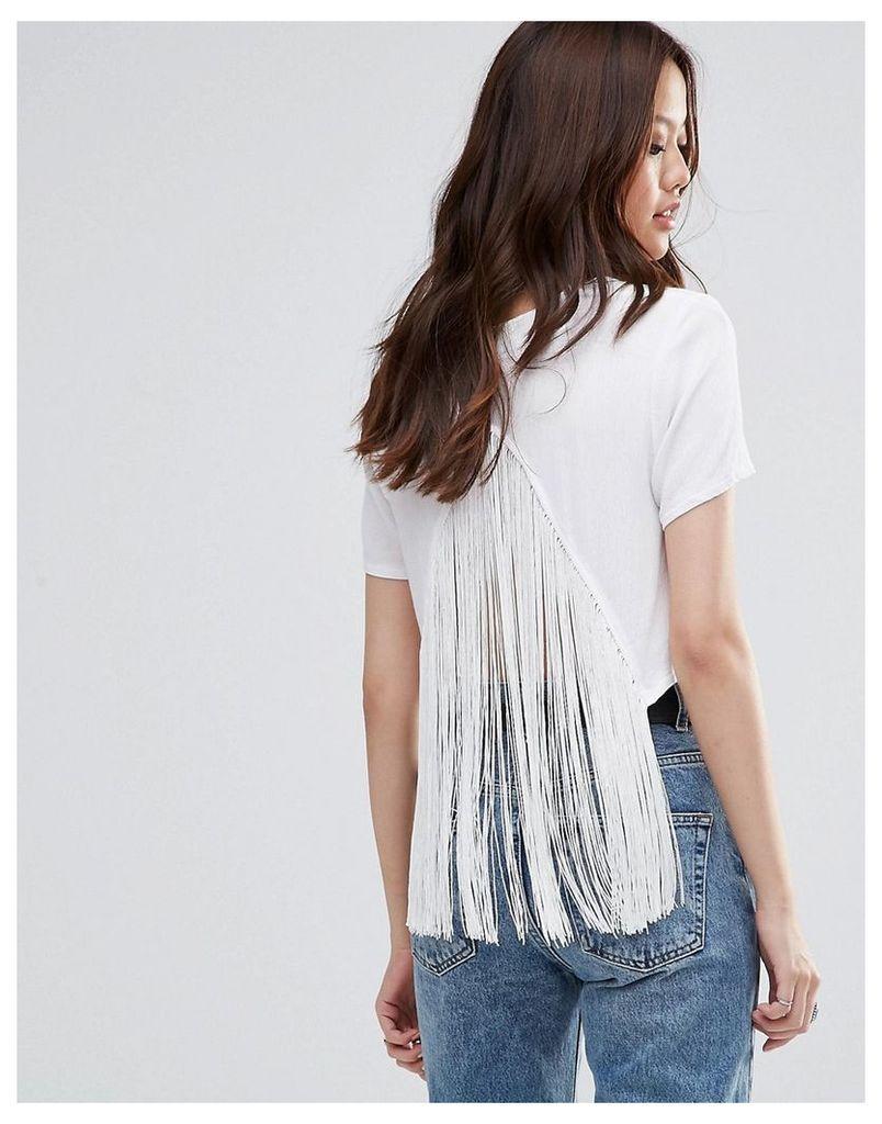 Girl In Mind Gabby Tassel Crop Top - White