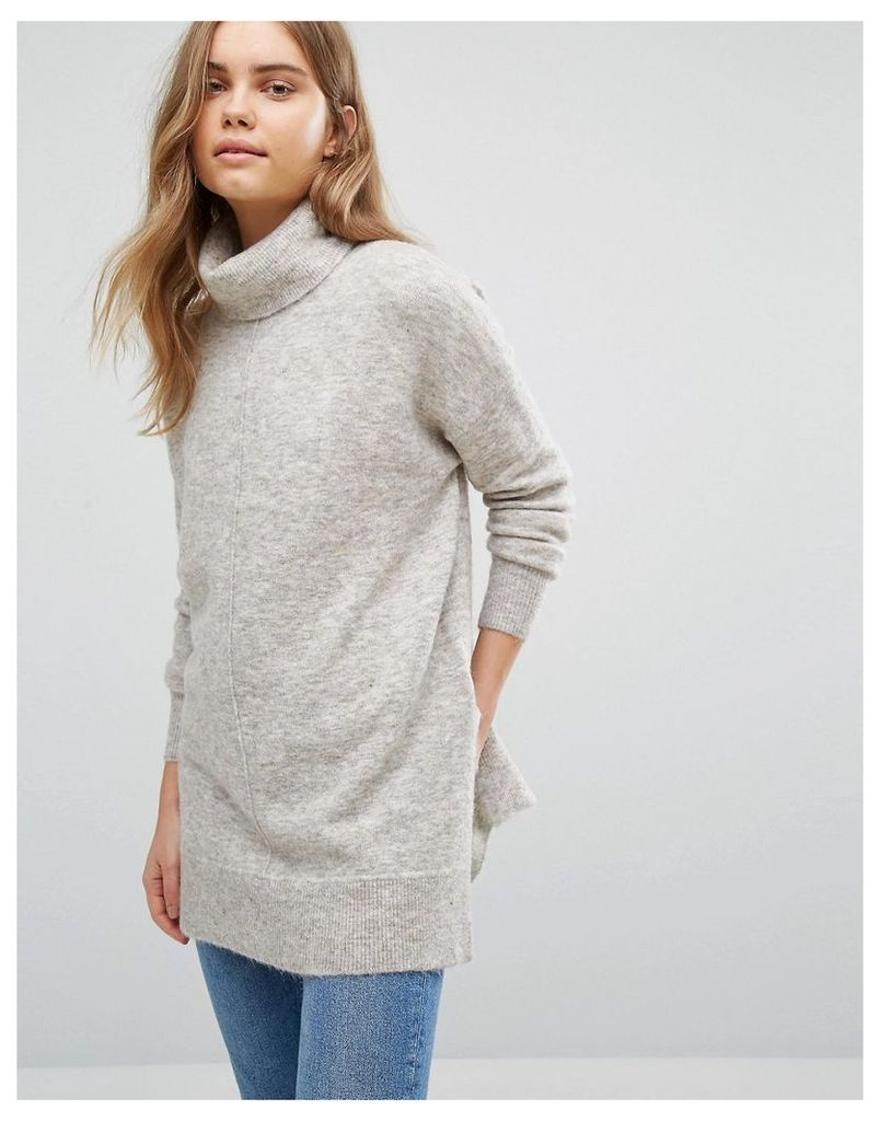 Warehouse Boxy Stretch Mohair Jumper - Neutral