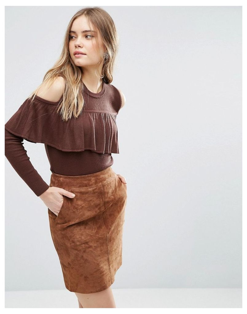 ASOS Fine Jumper With Ruffle Cold Shoulder - Chocolate