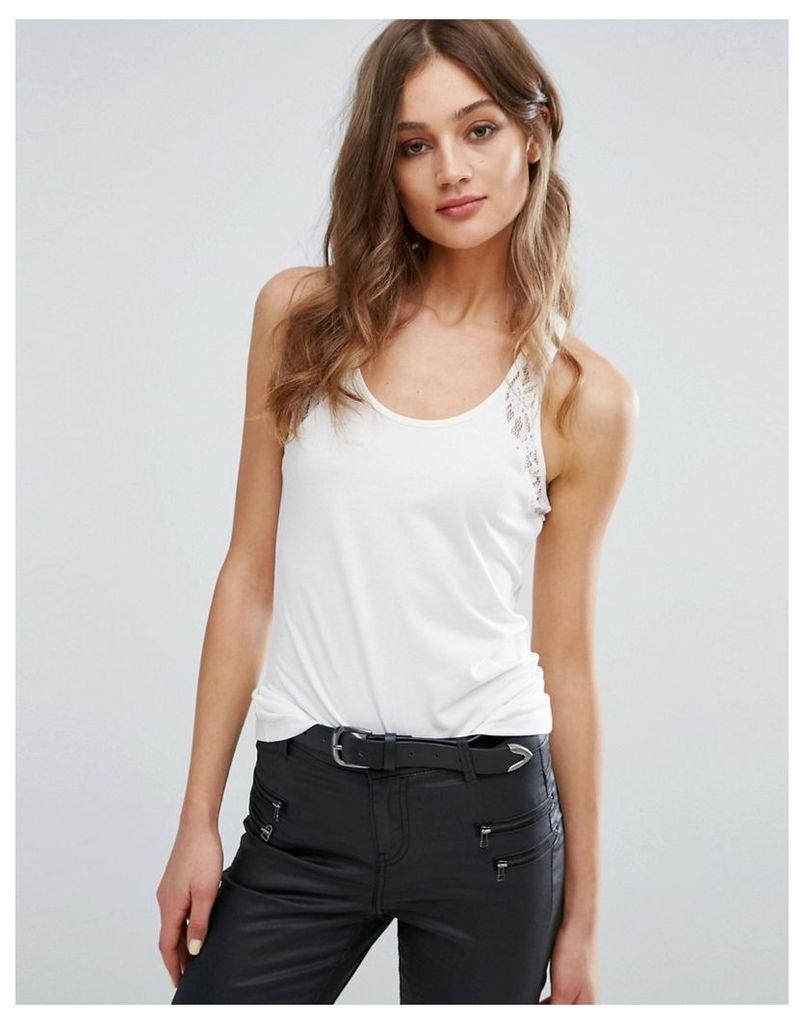 Vero Moda Lace Detail Vest Top - White