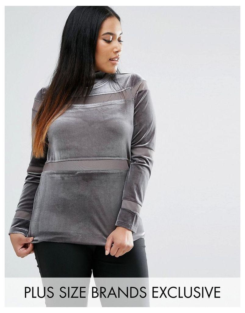 One Day Plus Velvet Funnel Neck Knit - Grey