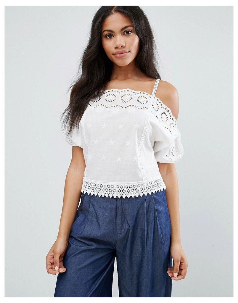 Liqurosh Crochet Cold Shoulder Cami Top - White