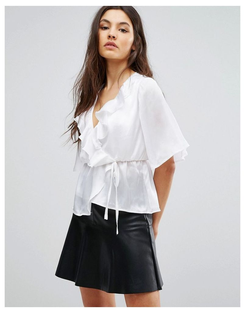 Club L Satin Tie Up Kimono Sleeve Top With Ruffle Detail - Cream
