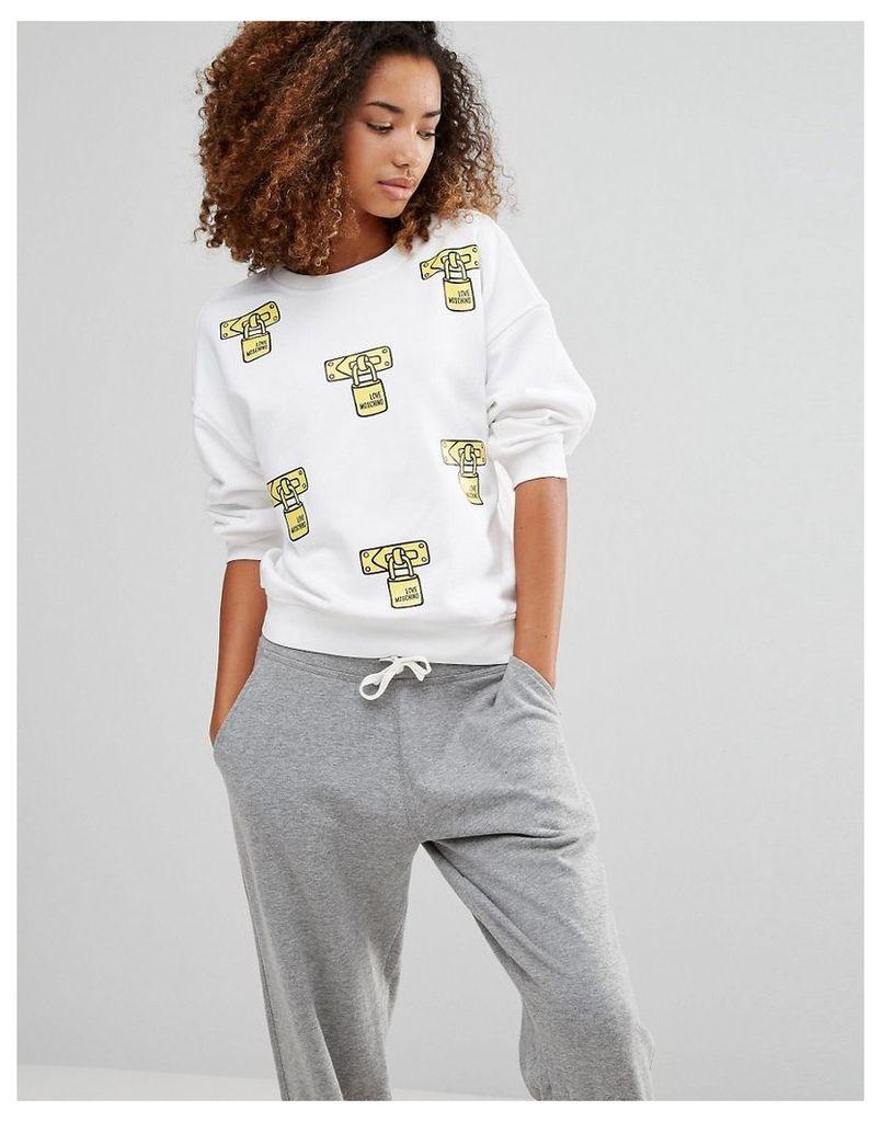 Love Moschino Lock Print Sweatshirt - White