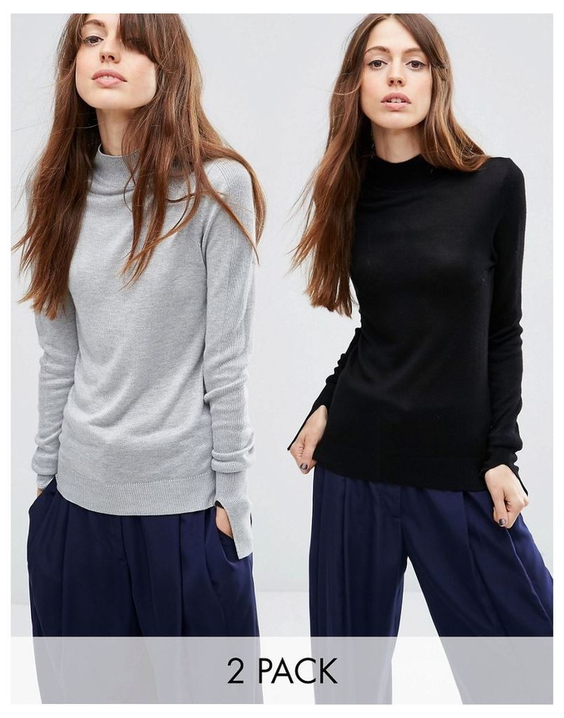 ASOS Jumper With Turtle Neck in Soft Yarn 2 Pack - Mid grey/black