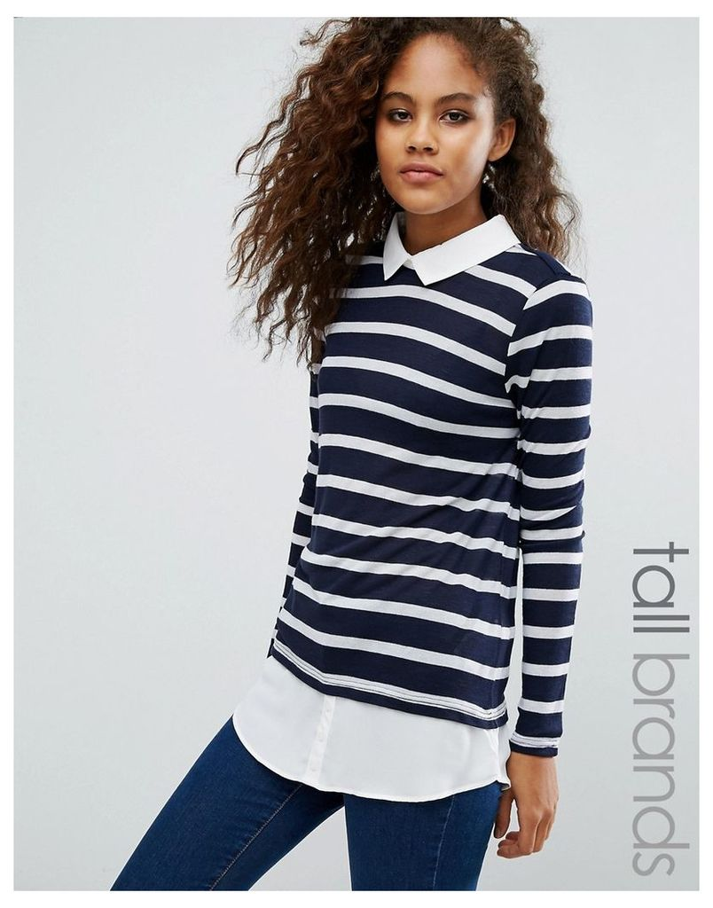 Vero Moda Tall Jumper With Shirt Hem In Stripe - Black iris w. white