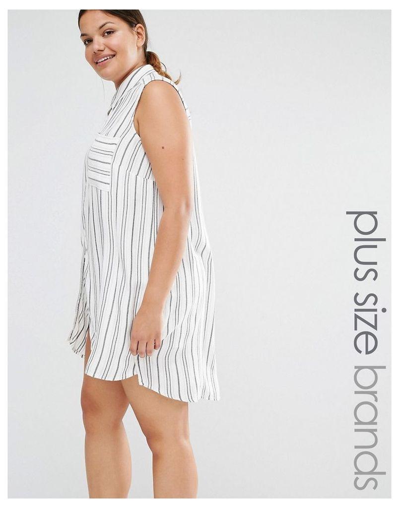 New Look Plus Stripe Sleeveless Longline Shirt - White pattern