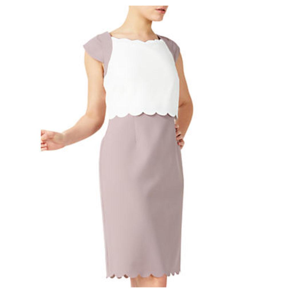 Jacques Vert Petite Scallop Dress, Brown/Multi