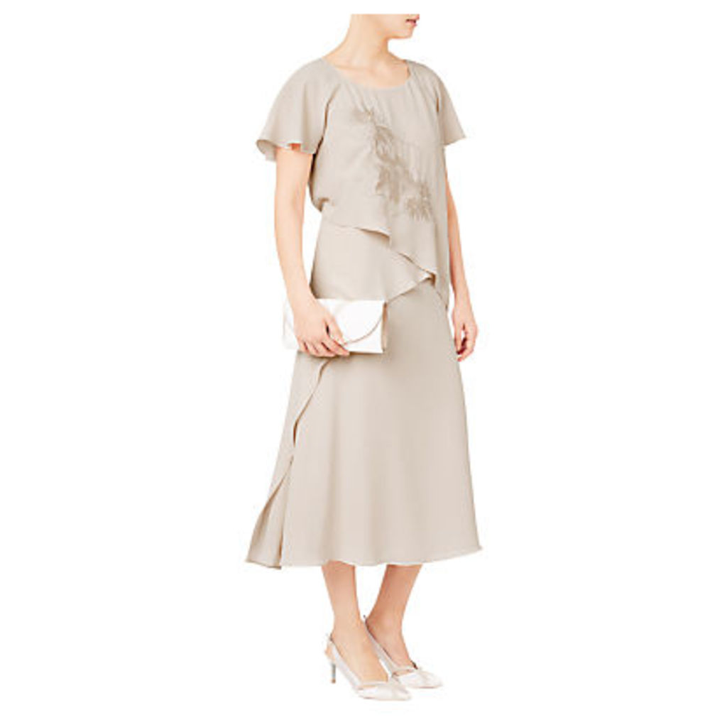 Jacques Vert Embroidered Tie Side Dress, Mid Neutral