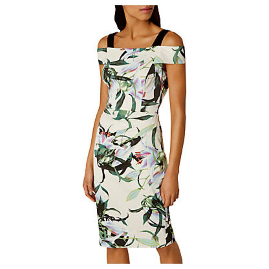 Karen Millen Tropical Lily Print Dress, Blue