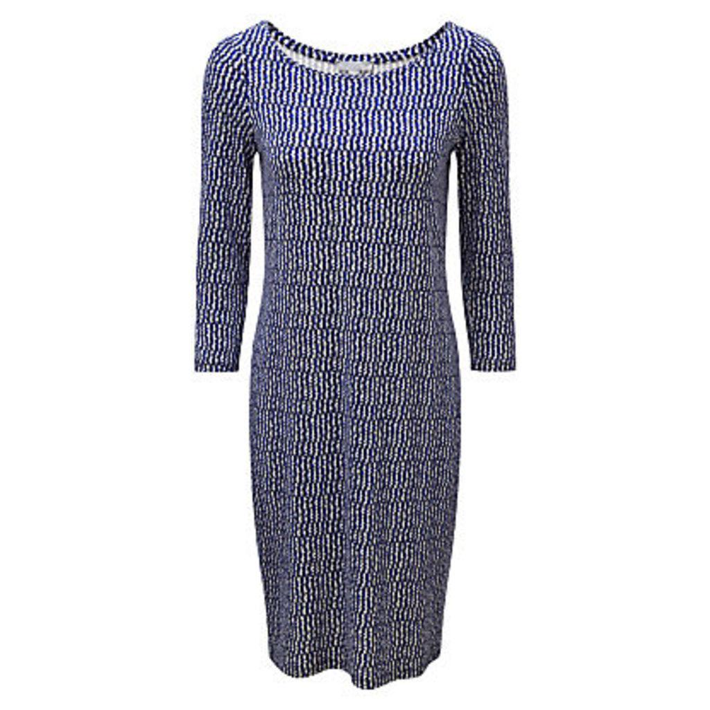 Pure Collection Slash Neck Jersey Dress, Blue Broken Stripe
