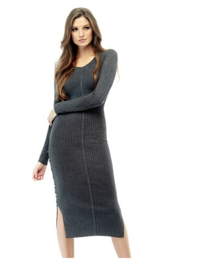 Guess Ribbed Dress With Slit