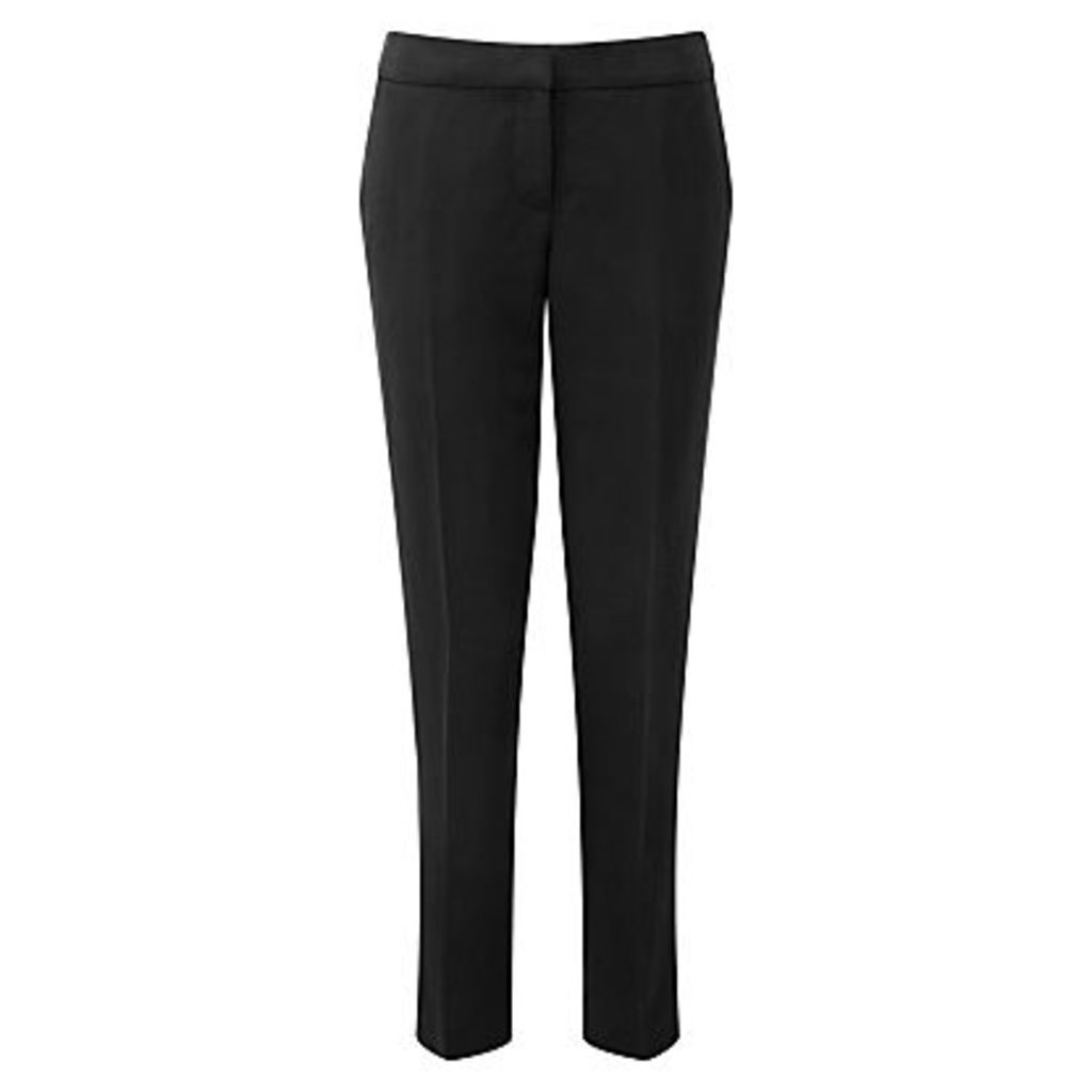 Pure Collection Silk Linen Trousers, Black