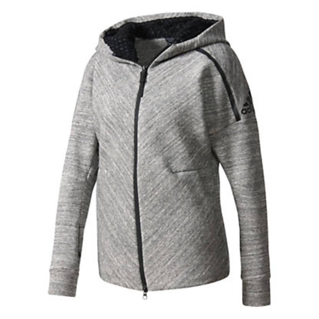 Adidas ZNE Full Zip Travel Hoodie, Grey Heather