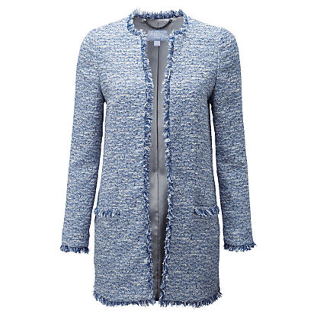 Pure Collection Textured Tweed Jacket, Mid Blue