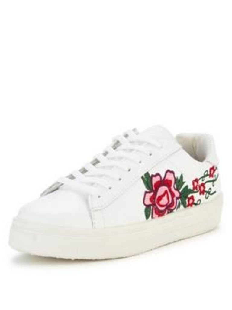 V By Very Flower Embroidered Trainer - White