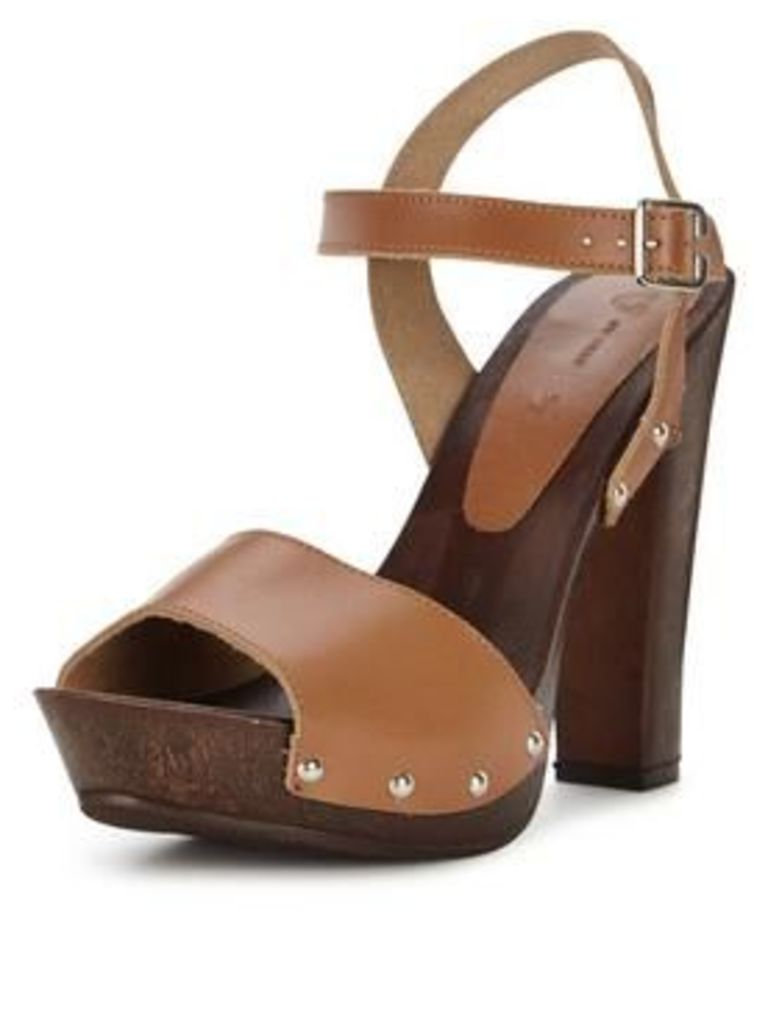 V By Very Wooden Heeled Platform Sandals With Leather Straps