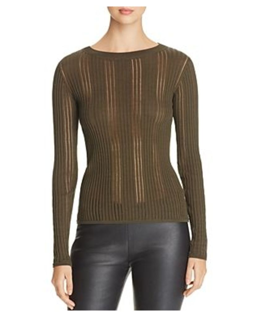 Dkny Sheer-Inset Ribbed Sweater
