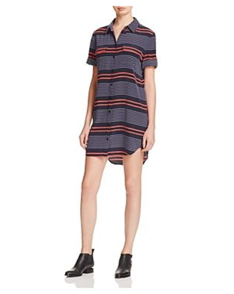 Equipment Short Sleeve Slim Signature Silk Shirt Dress