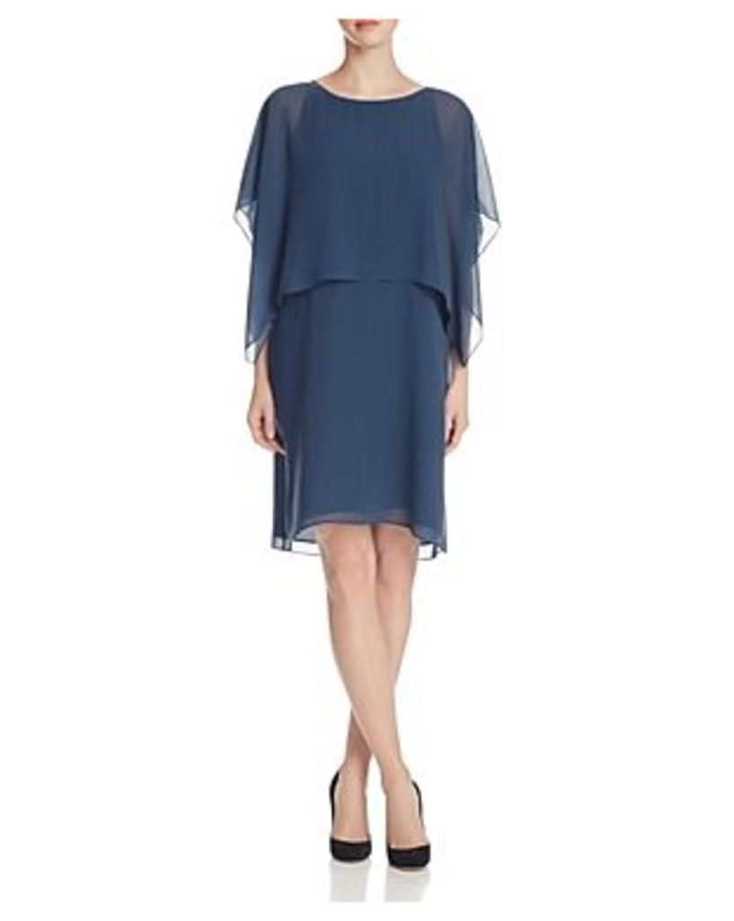 Eileen Fisher Silk Flutter Sleeve Popover Dress