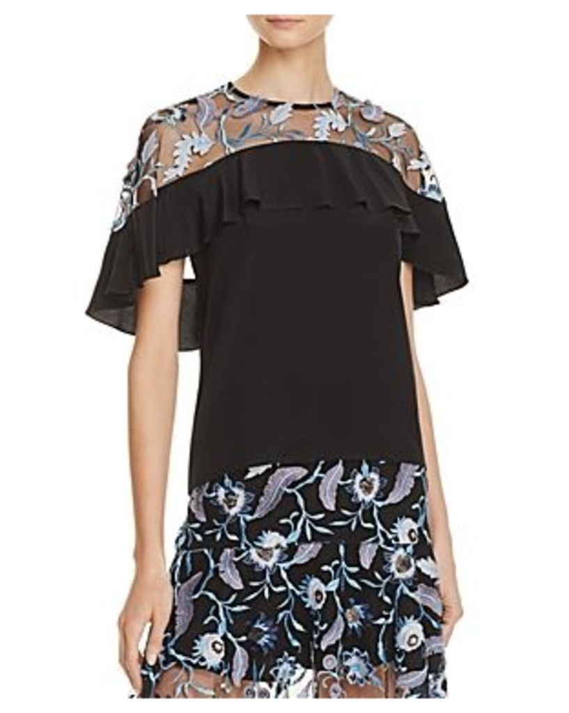 Sandro Cappy Cappy Embroidered-Overlay Silk Top - 100% Exclusive